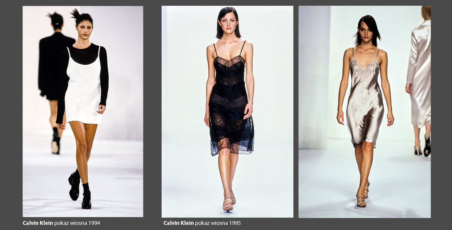 Propozycje sukienek Calvina Kleina w latach 1994-95