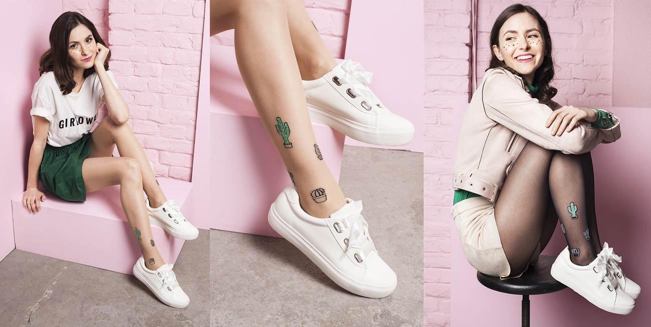Cienkie rajstopy z modnymi tatuażami kaktusów na kostce