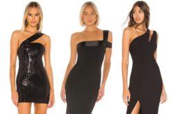 Asymetryczne dekolty doskonale urozmaicają proste jednokolorowe sukienki